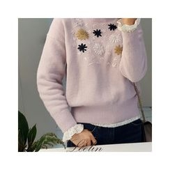 LEELIN - Floral Embroidered Sweater