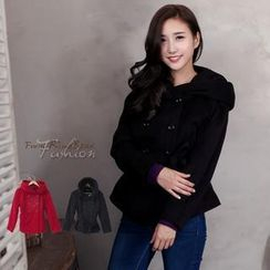 RingBear - Double-Breasted Waistband Hooded Woolen Jacket
