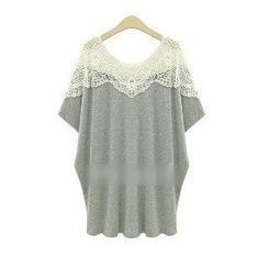 Eloqueen - Crochet-Panel Loose-Fit Tunic