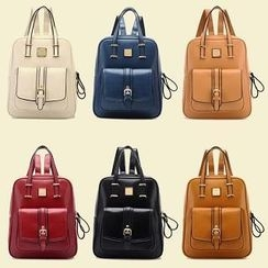 BeiBaoBao - Faux-Leather Buckled Backpack