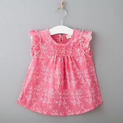 Debii - Kids Frilled-Cuff Embroidery Top