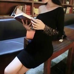 Silkfold - Single Sleeve Off Shoulder Sheath Dress