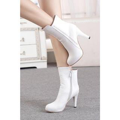 Shoes Galore - Side Zip High Heel Boots