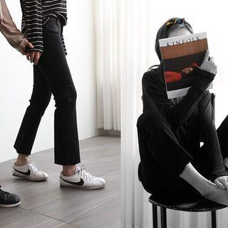 NIPONJJUYA - Cropped Fray-Hem Semi Boot-Cut Pants