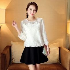 Romantica - 3/4-Sleeve Lace Panel Chiffon Top
