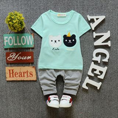 POMME - Kids Set: Animal Short-Sleeve T-shirt + Shorts