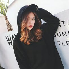 Alfie - Plain Loose-Fit Hooded Pullover Dress