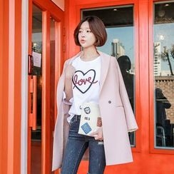 Seoul Fashion - Notched-Lapel Hidden-Button Coat