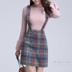 AiLiTi - Check Suspender Skirt
