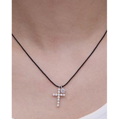Miss21 Korea - Faux-Pearl Cross Pendant Silver Necklace