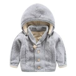 DEARIE - Kids Cable Knit Hooded Coat