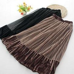 Citree - Mesh Panel Velvet Midi Skirt