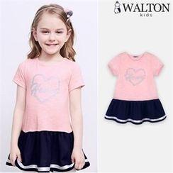 WALTON kids - Girls Ruffle-Hem Color-Block Long Top