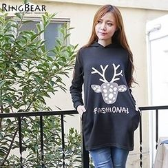 RingBear - Deer Print Hooded Pullover