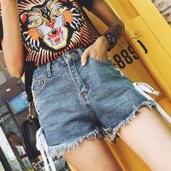 Colorful Shop - Lace-Up Denim Shorts