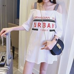 Fashion Street - 3/4-Sleeve Off Shoulder T-Shirt Dress
