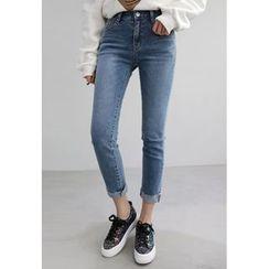 Miamasvin - Fray-Hem Slim-Fit Jeans