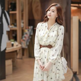 Styleberry - Tie-Neckline Owl Print Chiffon Dress with Belt