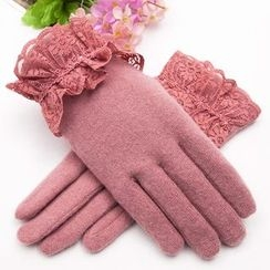 Leann - Lace Trim Wool Blend Gloves