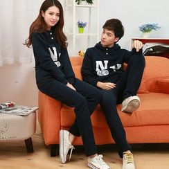 Lovebirds - Set: Couple Printed Pullover + Vest + Sweatants
