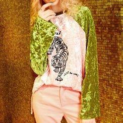 ELF SACK - Long-Sleeve Contrast-Color Printed Top