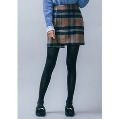 Chlo.D.Manon - Wrap-Front Wool Blend Plaid Mini Skirt
