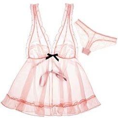 Maiden Manor - Set: Mesh Nightdress + Panties