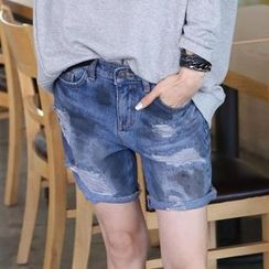 REDOPIN - Denim Distressed Shorts