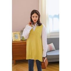 PPGIRL - V-Neck Long Knit Vest