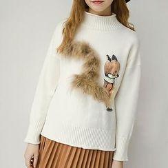 Honey House - Fox Applique Furry Trim Mock Neck Sweater
