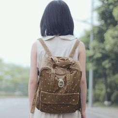 SUPER LOVER - Appliqué Dotted Canvas Backpack