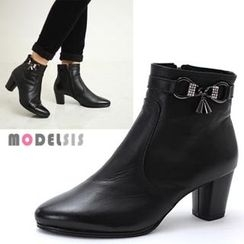 MODELSIS - Genuine Leather Metal-Accent Ankle Boots