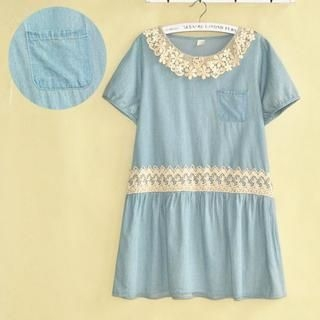 LULUS - Lace-Trim Drawstring Denim Dress