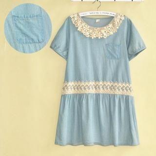 LULUS - Lace-Trim Drawstring Denim Dress