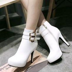Tomma - 扣帶厚底高跟踝靴