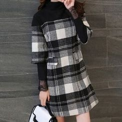 Isadora - 3/4-Sleeve Plaid Woolen Dress
