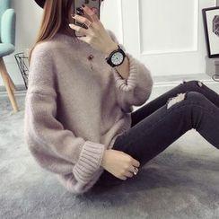 Qimi - 純色粗織毛衣