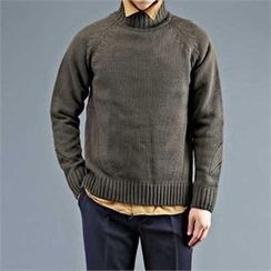 THE COVER - Mock-Neck Raglan-Sleeve Sweater
