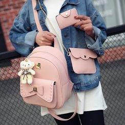 Merlain - Set of 3: Faux Leather Backpack + Crossbody Bag + Card Holder