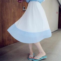 DreamyShow - Accordion Pleat Color-Block Midi Skirt