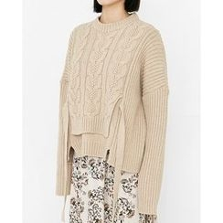 Someday, if - Strap-Detail Tiered Wool Blend Cable-Knit Sweater