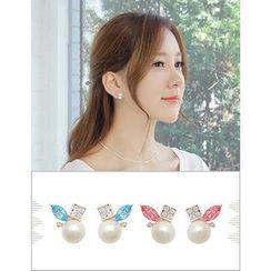 soo n soo - Rhinestone Faux-Pearl Stud Earrings