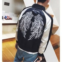 Zeesebon - Embroidered Panel Baseball Jacket