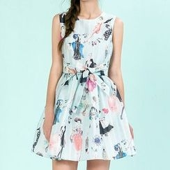 Strawberry Flower - Printed Sleeveless Dress