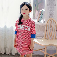 Cuckoo - Kids Gingham Letter Elbow-Sleeve Dress