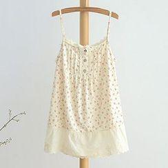 白金天使 - 碎花蕾丝花边吊带裙