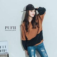 PUFII - Color-Block Fleece-Lined Top