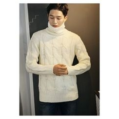 HOTBOOM - Turtleneck Cable-Knit Sweater