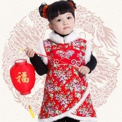 Snow Dragon - Kids Floral Print Traditional Chinese Sleeveless Dress