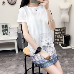 Heybabe - Printed Short-Sleeve Shift Dress